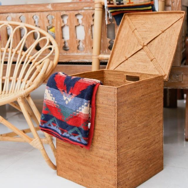 リビングボックス四角蓋付 (BOX398)  Rosily(ロージリー) バリ島 アタかご雑貨