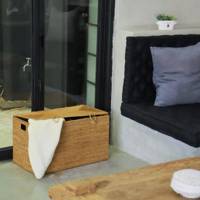 リビング収納中仕切蓋付きハーフ (BOX399)Rosily(ロージリー) バリ島 アタかご雑貨 蓋付きバスケット