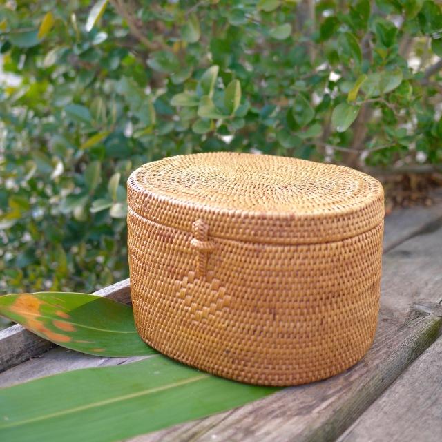 楕円蓋付き小物入 (BOX470)  Rosily(ロージリー) バリ島 アタかご雑貨 リビング収納