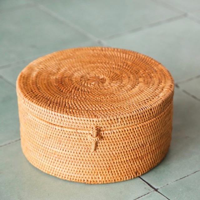 円柱蓋付 Lサイズ (BOX405)  Rosily(ロージリー) バリ島 アタかご雑貨 収納バスケット