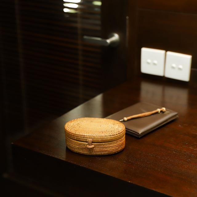オーバル蓋付きMサイズ (BOX411)  Rosily(ロージリー) バリ島 アタかご雑貨 キッチン収納