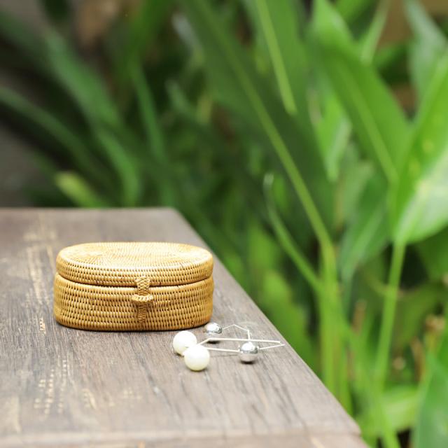 オーバル蓋付きスーパーSサイズ(BOX413) Rosily(ロージリー) バリ島 アタかご雑貨 キッチン収納 小物入れ 蓋付き