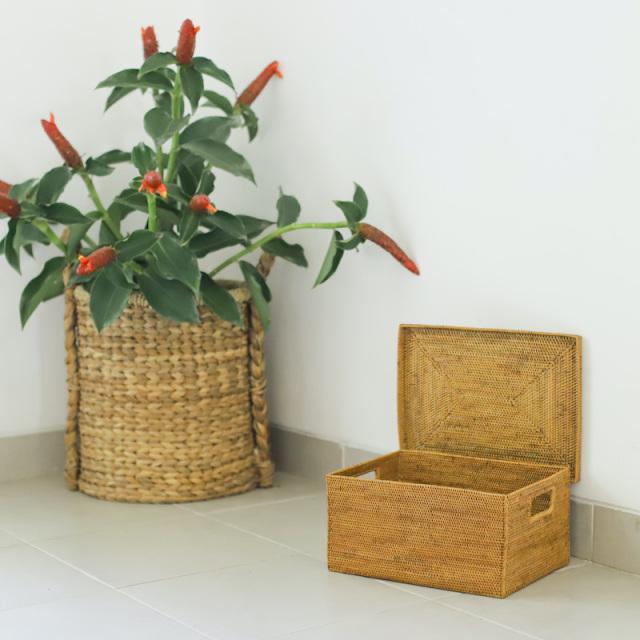 蓋付き靴箱型 (BOX415)  Rosily(ロージリー) バリ島 アタかご雑貨 蓋付きバスケット