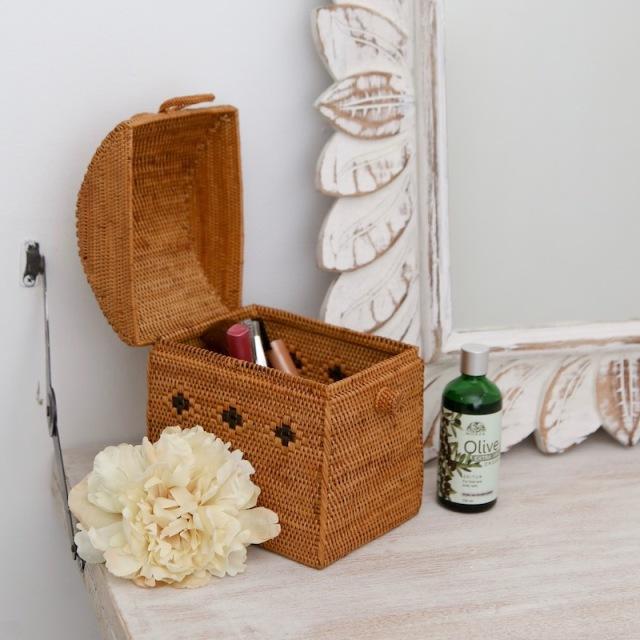 かまぼこ型リボン (BOX423)  Rosily(ロージリー) バリ島 アタかご雑貨 リビング収納