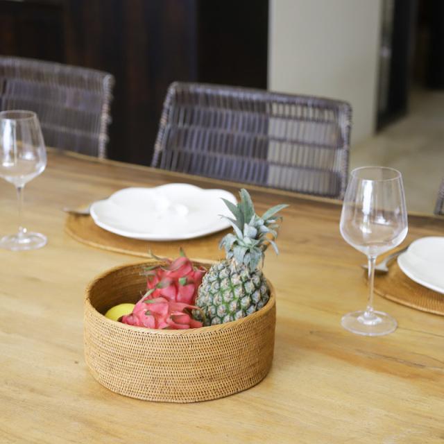 円形蓋無しLサイズ (BOX426)  Rosily(ロージリー) バリ島 アタかご雑貨