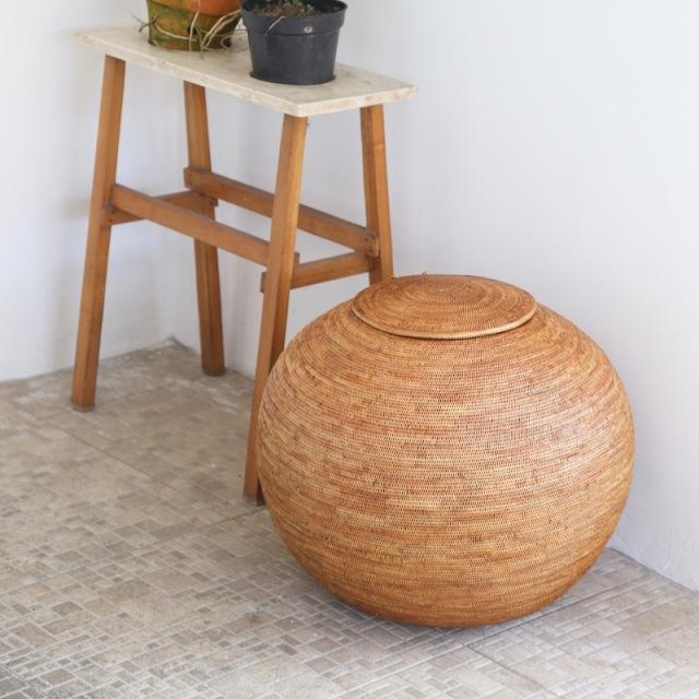 まるるん(ボール) Lサイズ (BOX429)  Rosily(ロージリー) バリ島 アタかご雑貨 蓋付きバスケット