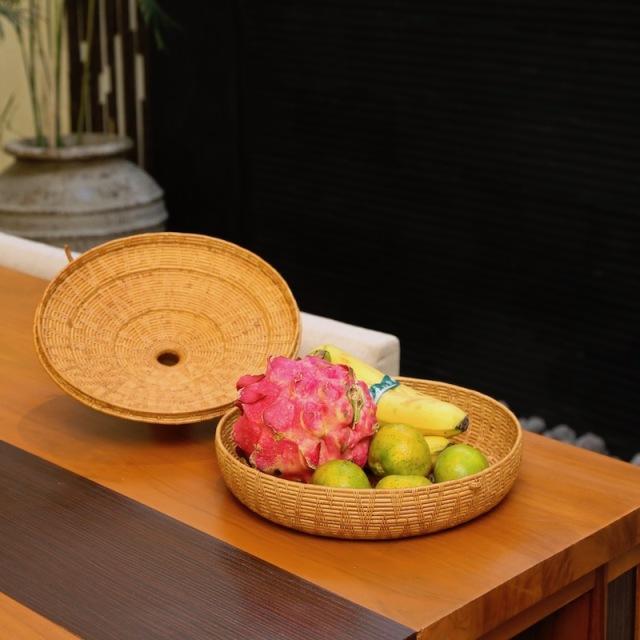 タジン鍋 LLサイズ (BOX433)  Rosily(ロージリー) バリ島 アタかご雑貨 蓋付きバスケット