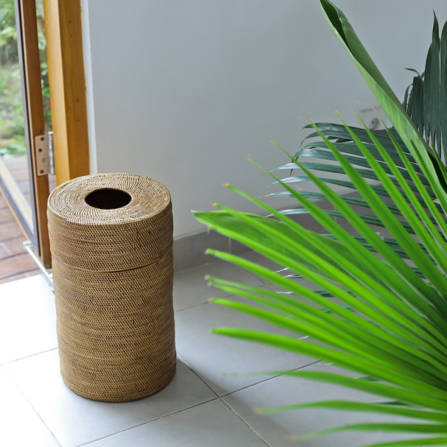 茶筒型蓋付きM (DST198) バリ島 アタかご雑貨 ゴミ箱 ダストボックス