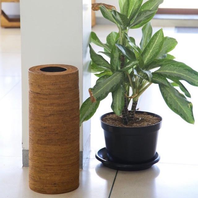茶筒型蓋付きLサイズ (DST199)  Rosily(ロージリー) バリ島 アタかご雑貨
