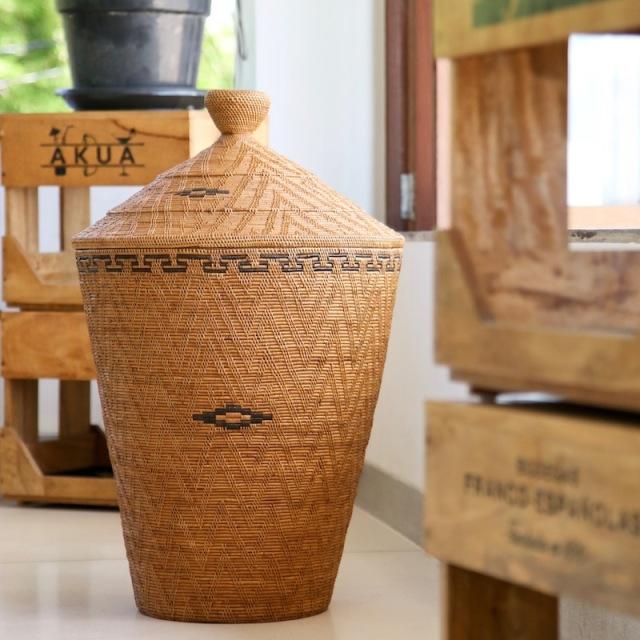 壷型尖り蓋付きLLサイズ (DST205)  Rosily(ロージリー) バリ島 アタかご雑貨