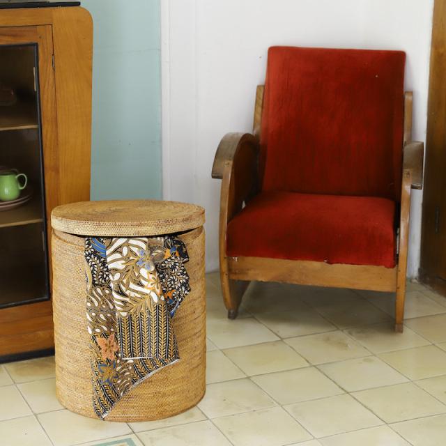 ドラム型蓋付き (DST207)  Rosily(ロージリー) バリ島 アタかご雑貨 収納バスケット 蓋付き リビング
