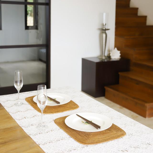 角丸ランチョンMサイズ 1枚 (MAT179)  Rosily(ロージリー) バリ島 アタかご雑貨 キッチンマット
