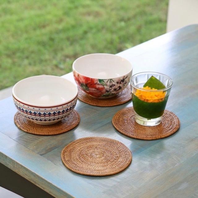 円形鍋敷Sサイズ 1枚(MAT182)  Rosily(ロージリー) バリ島 アタかご雑貨 キッチンマット