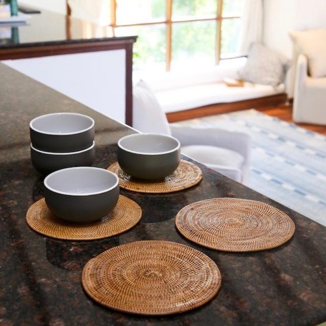 円形鍋敷Mサイズ 1枚 (MAT183)  Rosily(ロージリー) バリ島 アタかご雑貨 キッチンマット