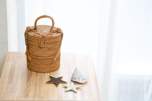 Rosily(ロージリー) バリ島 アタバスケット 円柱蓋付2段S (NAB502)