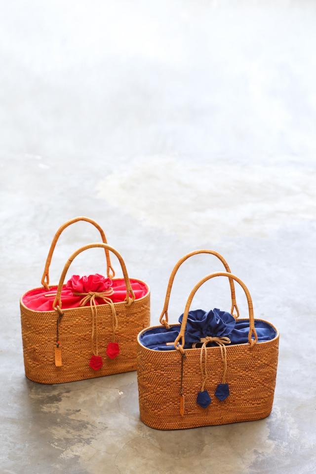 Rosily(ロージリー) バリ島 アタかごバッグ 浴衣や着物にも 楕円巾着バッグM マチ広 (NAB695)