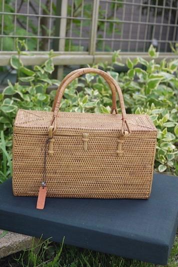 Rosily(ロージリー) バリ島 アタかごバッグ 浴衣や着物にも ブロック型バッグ蓋付き (NAB654)