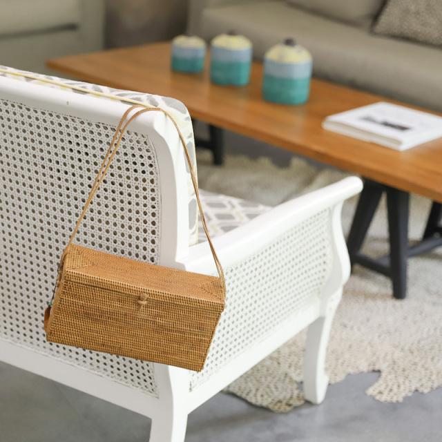 ブロック型バッグ蓋付きアタ紐持手 (NAB655)  バリ島 アタかごバッグ オリジナル 浴衣や着物にも