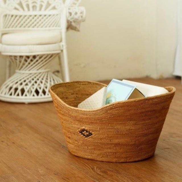 豆型持手無し (OVL232)  Rosily(ロージリー) バリ島 アタかご雑貨