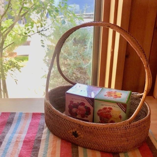 花籠持手付きLサイズ (OVL245)  Rosily(ロージリー) バリ島 アタかご雑貨
