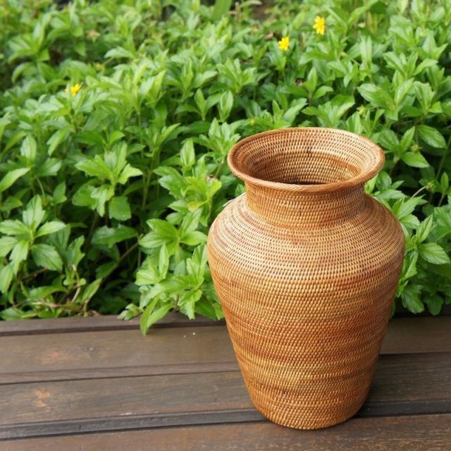 壺形花器 (OVL247)  Rosily(ロージリー) バリ島 アタかご雑貨 花器 フラワーアレンジ ドライフラワー