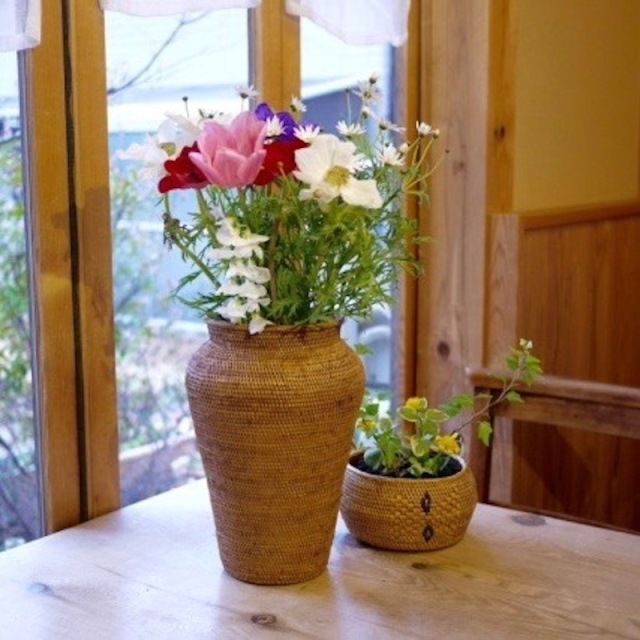壺形花器 (OVL247)  Rosily(ロージリー) バリ島 アタかご雑貨