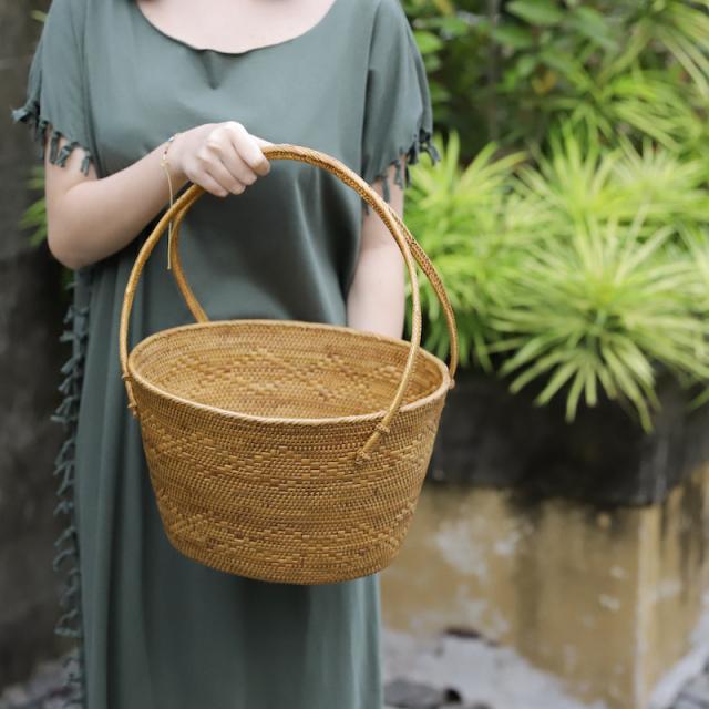 楕円籠持手付きMサイズ (OVL248)  Rosily(ロージリー) バリ島 アタかご雑貨 ピクニック マガジンラック