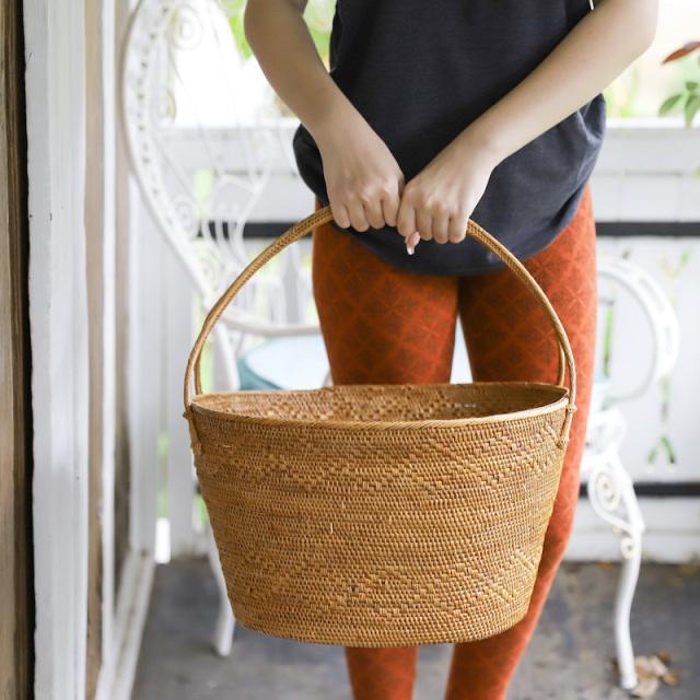 楕円籠持手付きLサイズ (OVL249)  Rosily(ロージリー) バリ島 アタかご雑貨