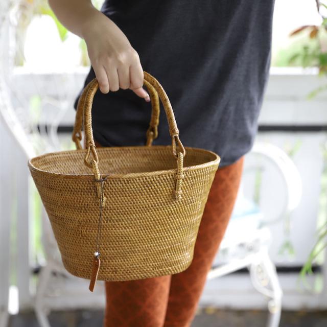 レトロ買物籠 Mサイズ (PNC146)  Rosily(ロージリー) バリ島 アタバスケット キッチン 収納バスケット