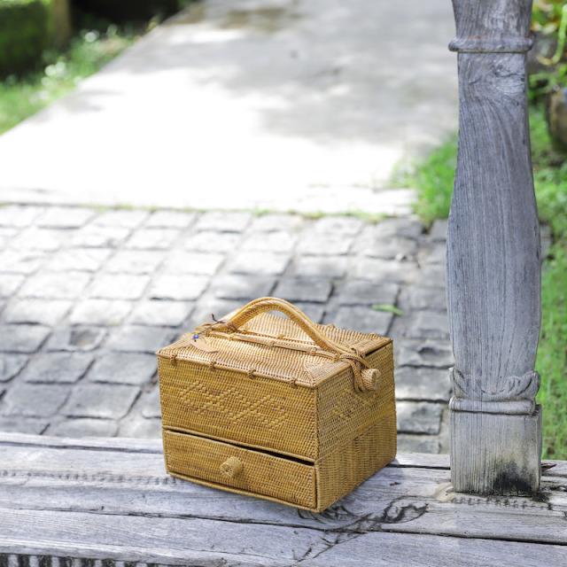 ピクニック引出し付き (PNC156)  Rosily(ロージリー) バリ島 アタバスケット コスメ 茶籠 野点 お茶 裁縫箱