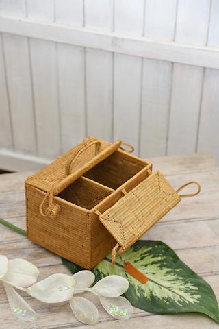 ピクニックスーパー Sサイズ  (PNC157)  Rosily(ロージリー) バリ島 高級 極細編みアタバスケット コスメ 茶籠 裁縫箱