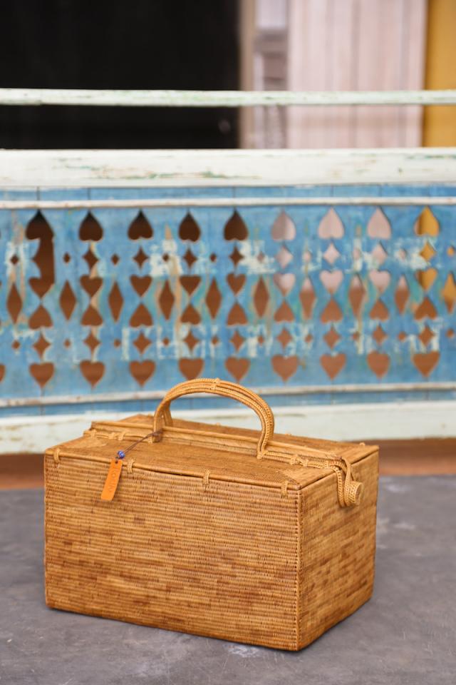 ピクニックスーパーLLサイズ  (PNC160)  Rosily(ロージリー) バリ島 極細編みアタバスケット コスメ 茶籠 裁縫箱