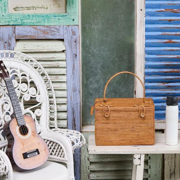 おでかけBOX (PNC165)  Rosily(ロージリー) バリ島 アタかご雑貨 コスメ 茶籠 裁縫箱