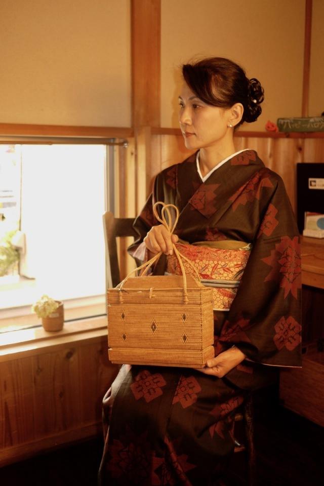 家型極細編みバッグ (SAB114)  Rosily(ロージリー) バリ島 高級 極細編みアタかごバッグ 浴衣や着物にも
