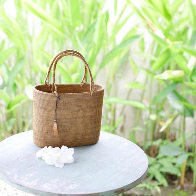楕円ウルトラスーパーMサイズ  (SAB115)  Rosily(ロージリー) バリ島 高級 極細編みアタかごバッグ 浴衣や着物にも