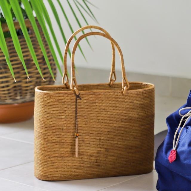 楕円スーパー 深型 Lサイズ  (SAB133) +オリジナルの着脱式巾着付き  Rosily(ロージリー) バリ島 高級 極細編み アタかごバッグ 浴衣や着物に