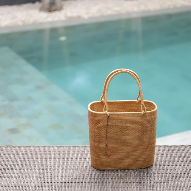 すっきりスーパーLサイズ (SAB137) Rosily(ロージリー) バリ島 高級 極細編みアタかごバッグ 浴衣や着物にも