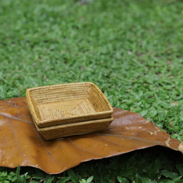 正方形トレイ積重ねOK  (TRY288)  Rosily(ロージリー) バリ島 アタかご雑貨 キッチン収納