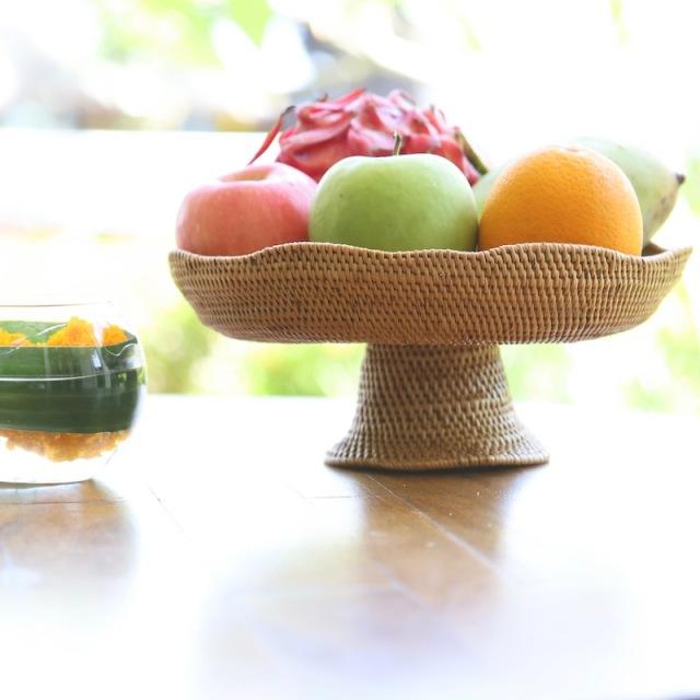 足付きフルーツトレイ (TRY313)  Rosily(ロージリー) バリ島 アタかご雑貨