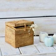 キューブ形蓋付き ハイクオリティ (BOX354)  Rosily(ロージリー) バリ島 アタかご雑貨