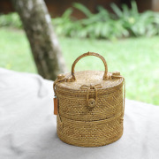 円柱蓋付き2段Mサイズ(NAB505) Rosily(ロージリー)バリ島 アタかご雑貨 コスメボックス 茶籠  裁縫箱