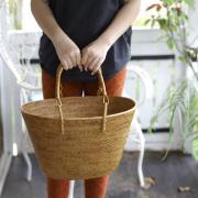 レトロ買物籠 Lサイズ (PNC147)  Rosily(ロージリー) バリ島 アタバスケット キッチン 収納バスケット ピクニック
