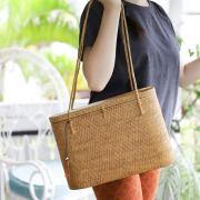 楕円スーパー蓋付き 深型 Lサイズ (SAB131)  Rosily(ロージリー) バリ島 高級 極細編み アタかごバッグ オリジナル 浴衣や着物にも