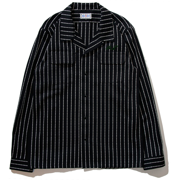 Dobby Stripe Open Collar Shirt
