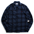 Flannel dark check work shirt