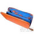 エルメス アザップ シルクイン フーオレンジ  (内側 ブルーイドラ) 【新品】 HERMES Azaplong silk in Feu Orange (inside Bleu hydra) 【NEW】