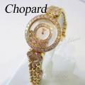 ショパール ハッピーダイヤモンド クォーツ ダイヤベゼル ダイヤブレス イエローゴールド K18YG 【中古】 Chopard Lady's Watch diamond Yellow Gold 【USED】