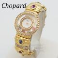 ショパール ハッピーダイヤモンド クォーツ ハッピースポーツ ダイヤベゼル ダイヤブレス バングル サファイア 【中古】 Chopard Lady's Watch diamond sapphire 【USED】