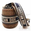 クリスチャンディオール  バケットバッグ かごバッグ ディオールウィッカー オブリーク ジャガード 2021 限定 国内正規店購入品 【新品】 Christian Dior Wicker Bucket Bag 【NEW】