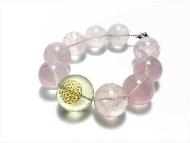 レモン水晶(右らせん・フラワーオブライフ)&ローズクォーツ 【PB141201064】